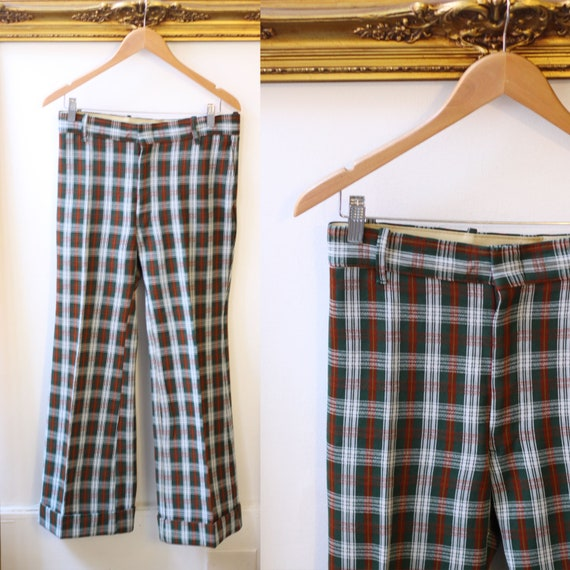1970s plaid flare pants // vintage plaid trousers // vintage bell bottoms
