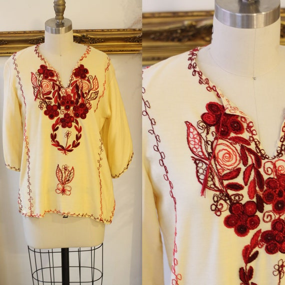 1970s floral cotton top // embroidered cotton top // 1970s boho blouse