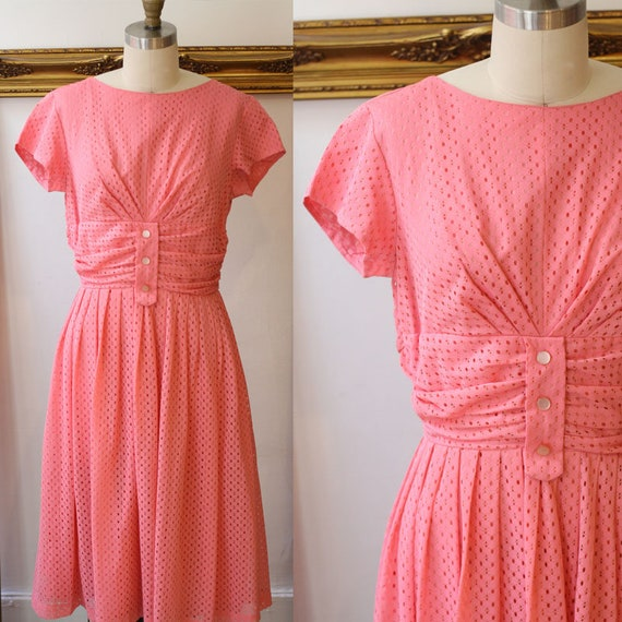 1960s pink perforated swing dress // pink party dress // vintage dress