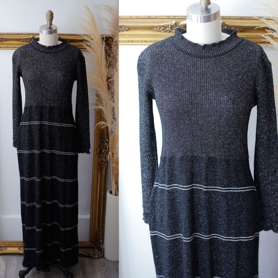 1970s silver sparkle dress // 1970s sweater dress