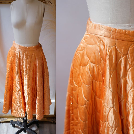 1950s copper quilted skirt // 1950s quilted circle skirt // vintage circle skirt