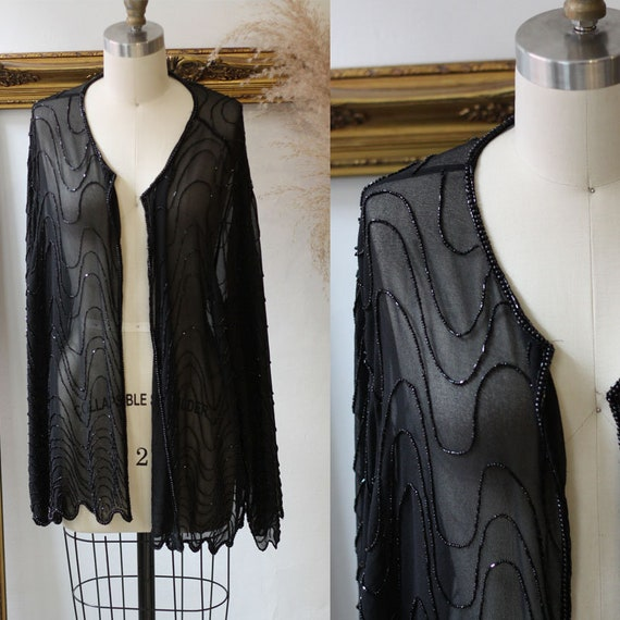 1980s black beaded sheer jacket// 1980s black shee