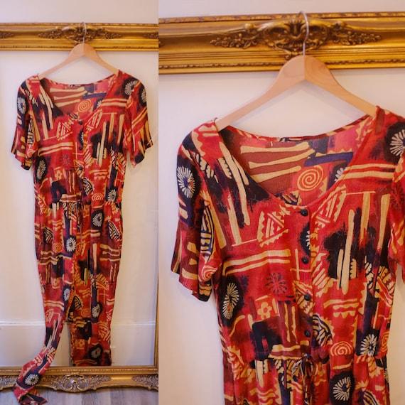 1980s rayon jumpsuit // 1980s rayon romper // vintage jumpsuit