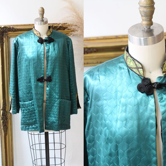 1930s green satin robe top // 1940s quilted satin jacket // vintage robe
