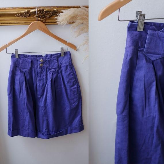 1980s high waist shorts //1980s purple shorts // vintage shorts