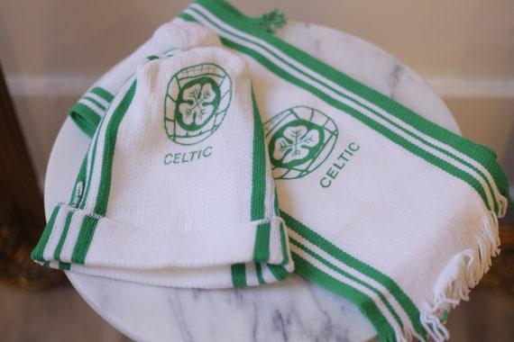 1980s Celtic hat and scarf set // 1980s Celtics hat // vintage scarf
