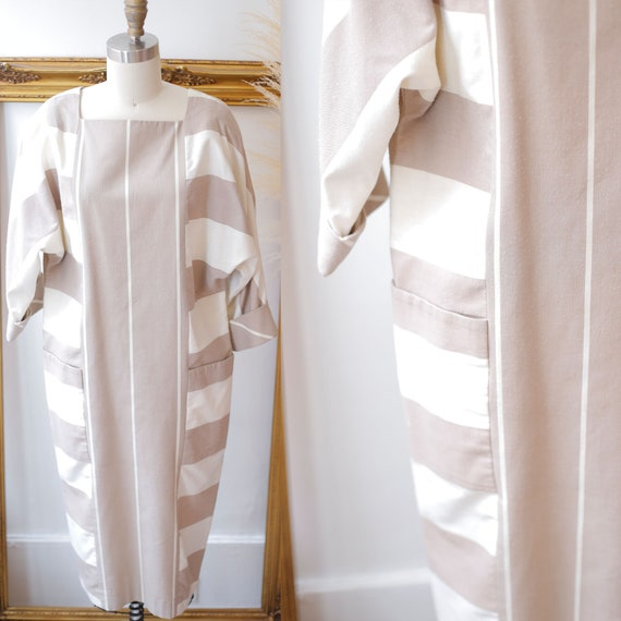 1980s brown striped dress // 1980s neutral dress // vintage dress