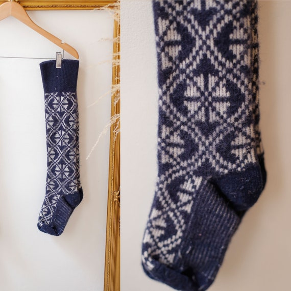 1950s navy blue Wool Socks // 1950s wool socks // vintage socks