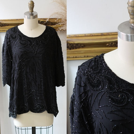 1980s black beaded short sleeve blouse // 1980s black party top // 1980s beaded top