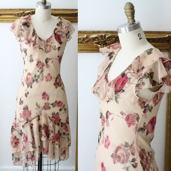 1980s Sheer Floral ruffle Dress // 1980s does 1930s style dress // vintage dress