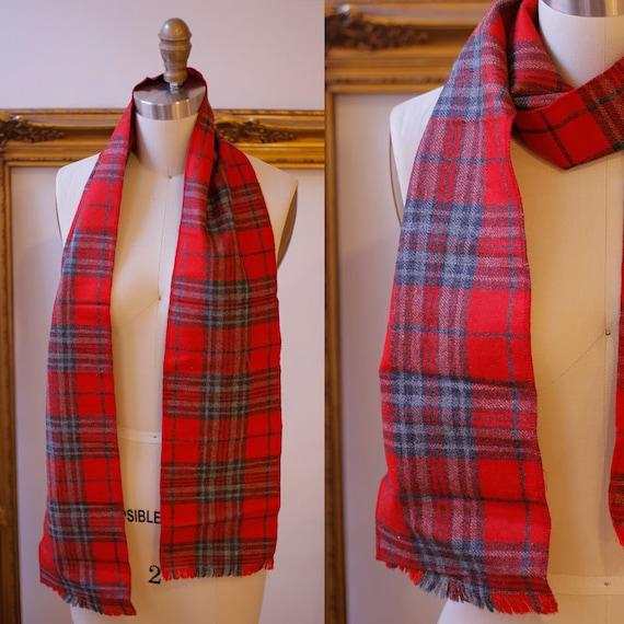 1960s red plaid scarf // 1960s wool scarf // vintage scarf