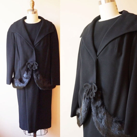 1950s black skirt suit // 1950s black fur suit // vintage suit