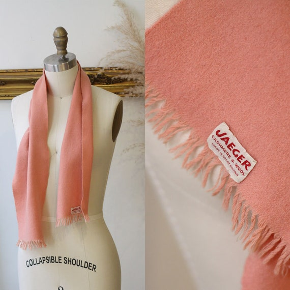 1960s salmon coloured scarf // 1960s cashmere scarf // vintage scarf
