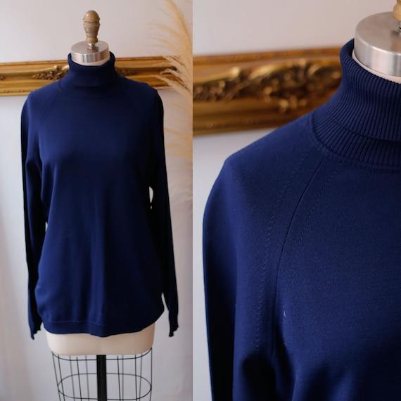 1970s navy blue turtleneck // 1970s navy blue sweater // vintage turtleneck