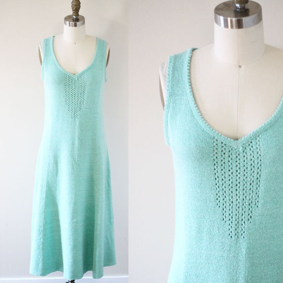 1970s green mint knit dress // 1970s tennis dress// vintage dress