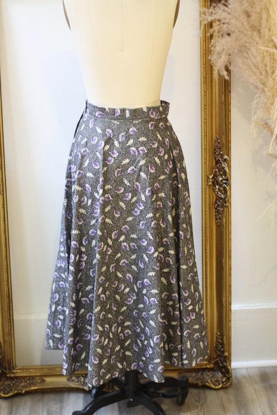 1950s novelty leaf skirt // 1950s grey novelty sk… - image 8