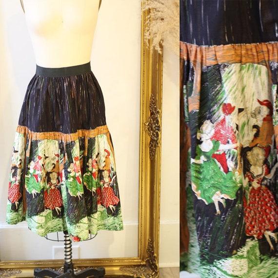 1950s swing dancer skirt // novelty skirt // vintage circle skirt