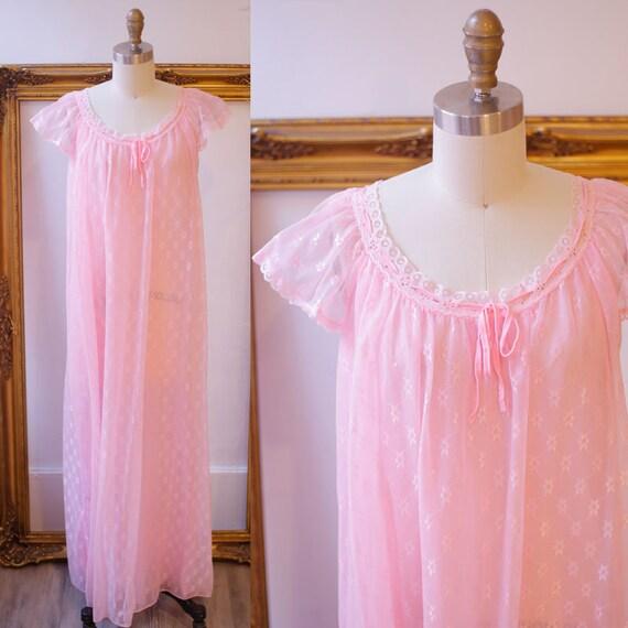 1960s sheer pink nightgown //  1960s pink ruffle slip // vintage lingerie