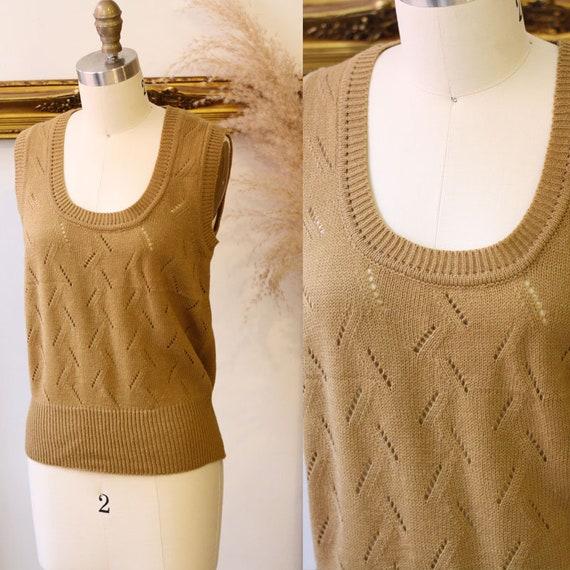 1970s brown knit vest // 1970s boho vest // vintage sweater vest