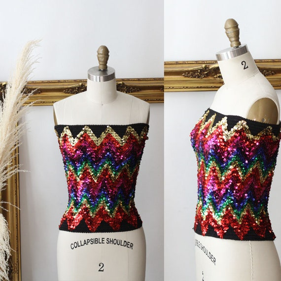 1980s rainbow sequin tube top // chevron sequin top // vintage sequin top