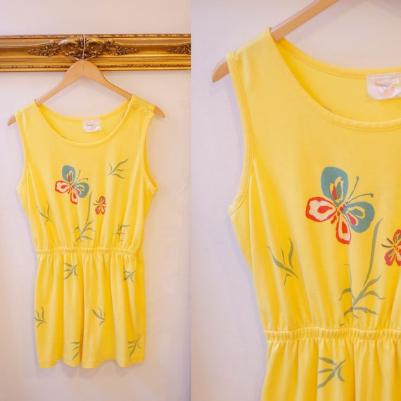 1970s yellow butterfly romper // 1970s butterfly romper // 1970s shorts romper