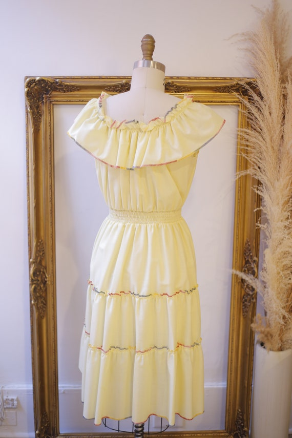1970s off the shoulder dress // 1970s yellow ruff… - image 8