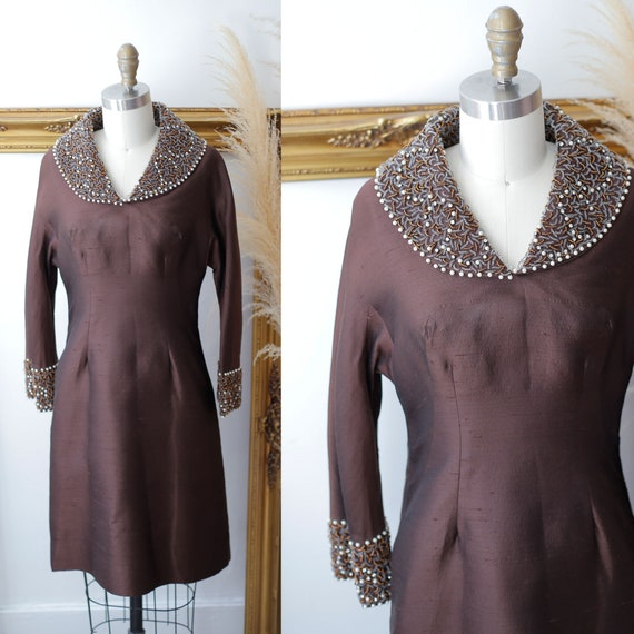 1960s silk brown gown // 1960s beaded collar dress // vintage dress