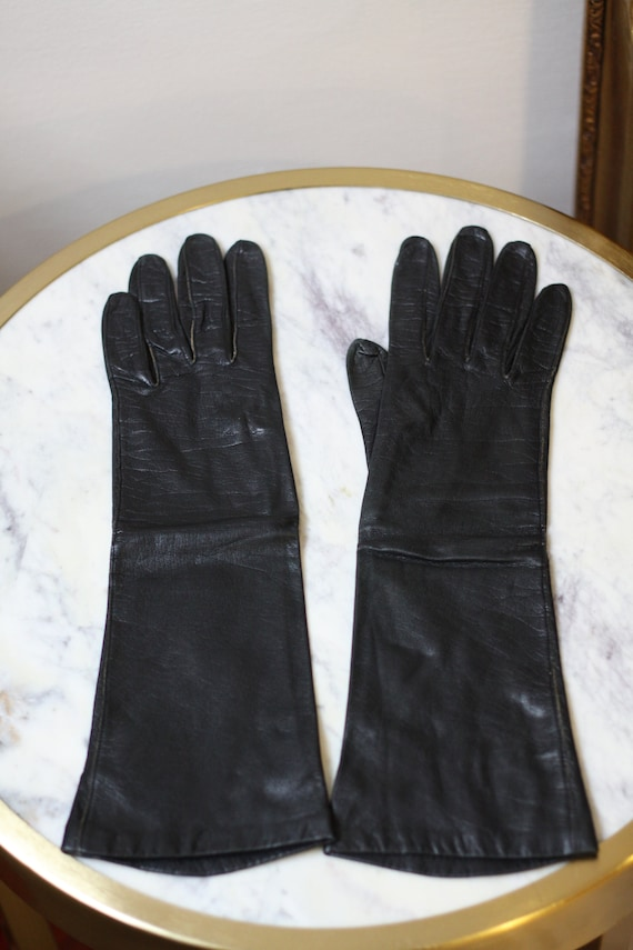 1960s black leather gloves // cocktail gloves // vintage gloves