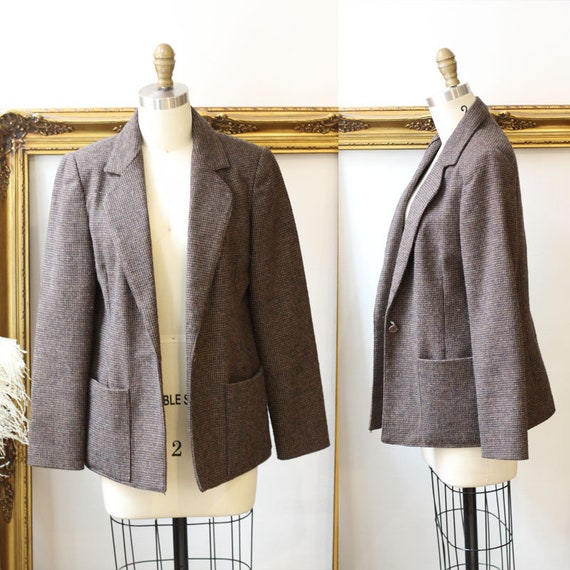 1970s brown checkered blazer // 1970s brown blazer jacket // vintage jackets