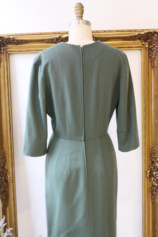 4430e8c6 1960s sage green wool dress // 1960s sheath dress with sleeves ...