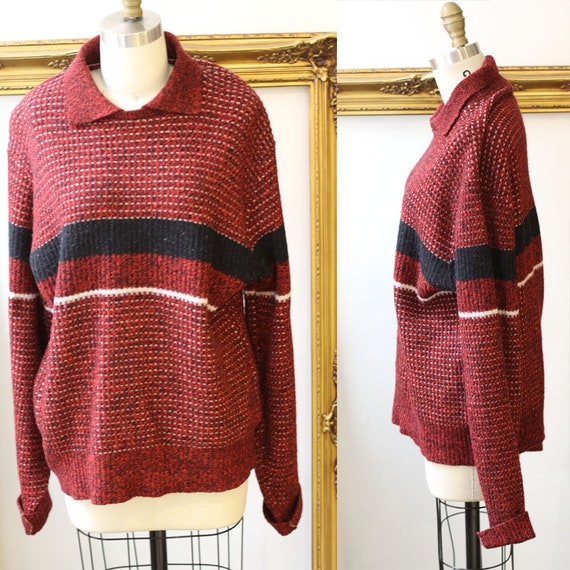 1940s McGregor sweater // 1940s red sweater //vintage sweater cardigan