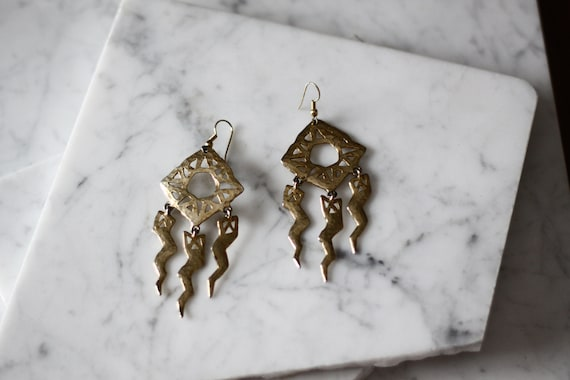 1980s large lightning earrings // 1980s gold statement earrings // vintage earrings