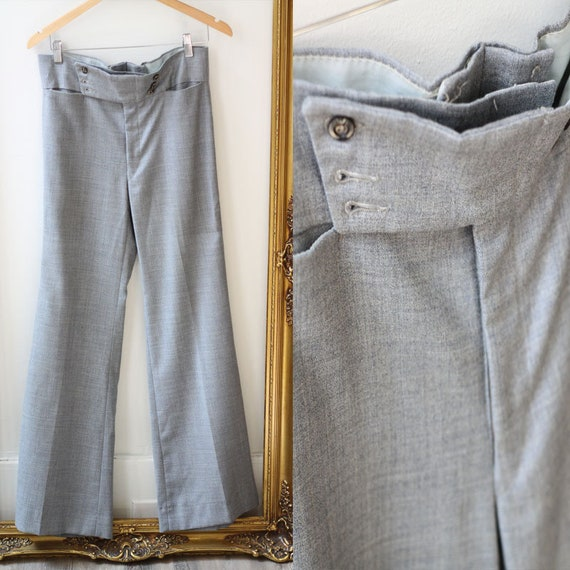 1970s grey flare pants // vintage grey trousers pants // vintage bell bottoms