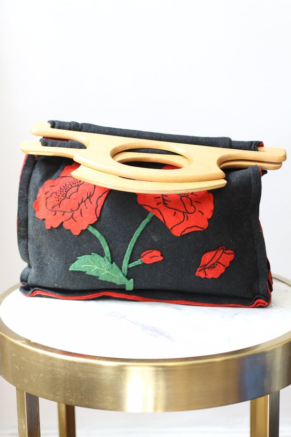 1970s felt poppies handbag // 1970s wooden handle handbag // vintage purse