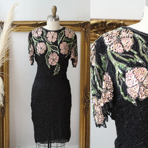 1980s Floral Sequin Dress // 1980s black sequin wiggle dress // vintage cocktail dress