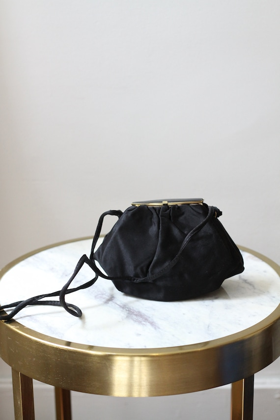1970s black cushion crossbody purse // 1970s satin purse // vintage purse