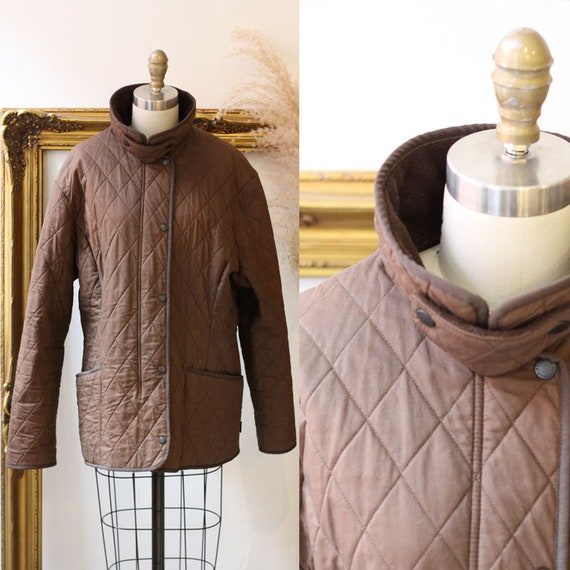 1990s quilted Barbour jacket  //brown quilted jac… - image 1