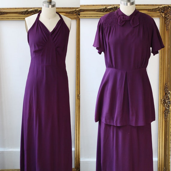 1930s royal purple crepe dress // 1930s two piece dress  // vintage dress