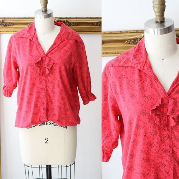 1970s red floral  top // 1970s black floral top // 1970s blouse
