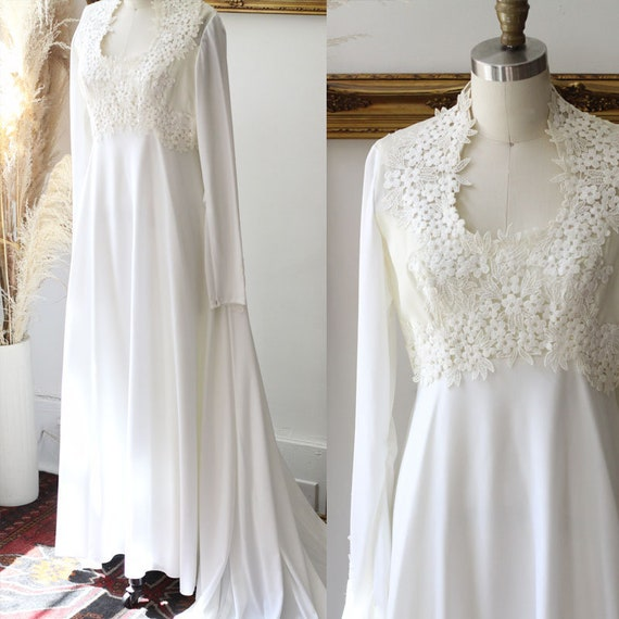 1960s floral top wedding dress // 1960s long sleeve lace wedding dress // vintage bridal dress
