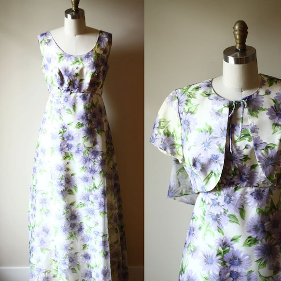 1970s purple floral dress // coat and dress set // vintage dress