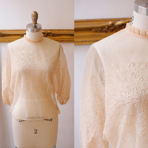 1950s sheer embroidered blouse // 1950s nylon blouse // vintage top