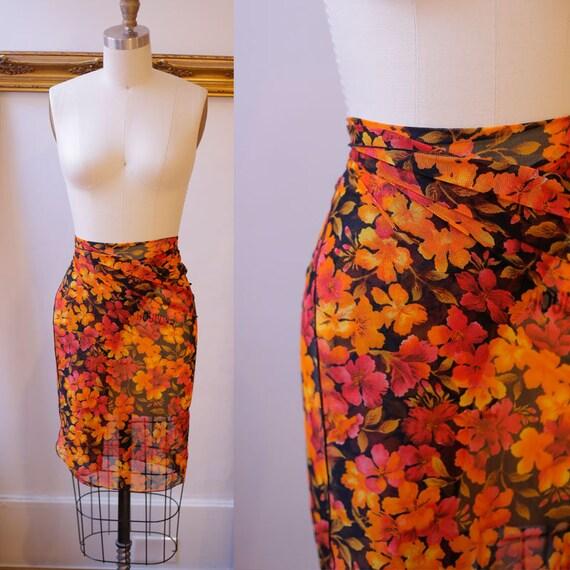 1990s orange mesh wrap skirt // 1990s beach skirt // vintage wrap skirt