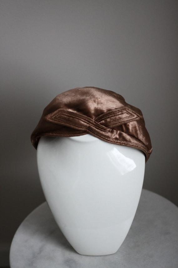 1950s copper velvet turban hat // 1950s turban hat // vintage hat