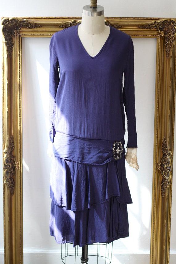 1920s cobalt blue silk dress // 1920s lace flappe… - image 2