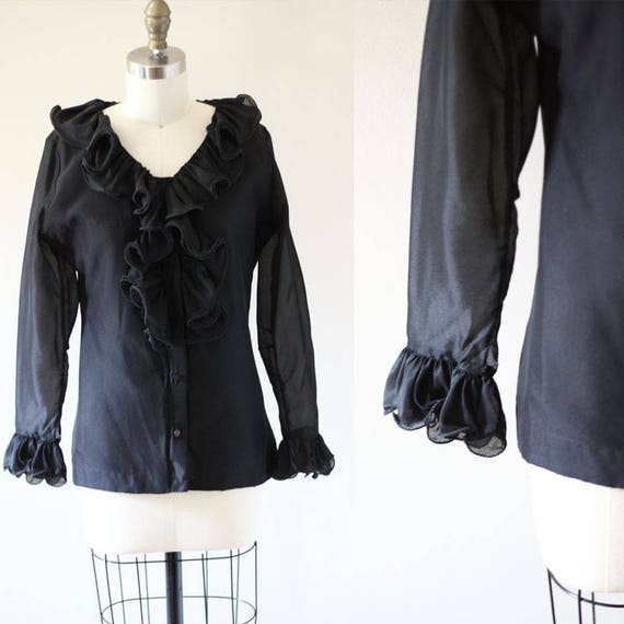 1970s black ruffle blouse  // 1970s ruffle blouse // vintage top