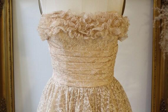 Vintage 50/'s 60/'s Red Nylon Nani Flower Dressy Slip with Lace Dress Wedding Party Fancy