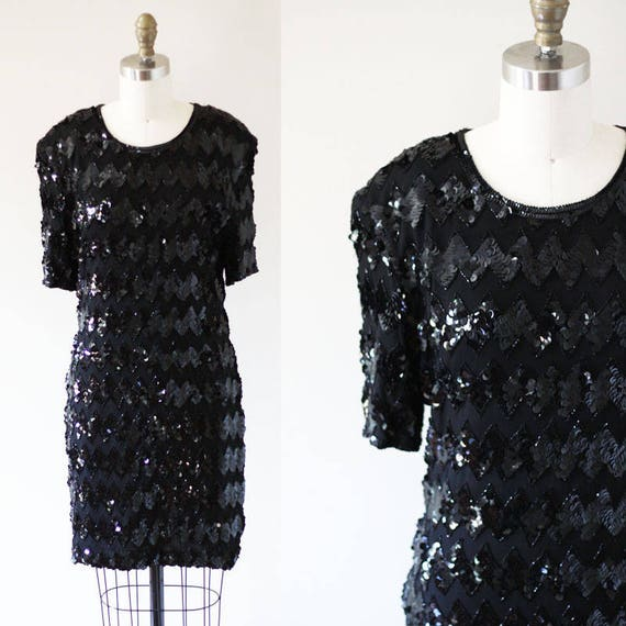 1980s Silk Sequin Mini Dress // 1980s black sequin dress // vintage cocktail dress