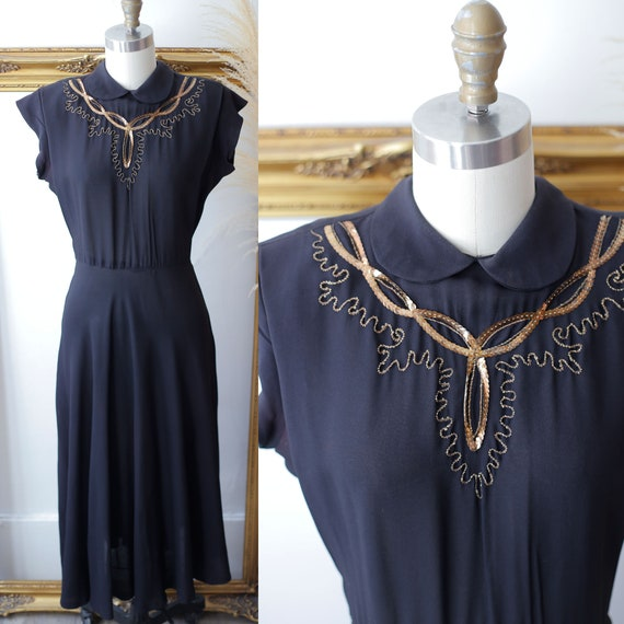 1940s black sequin dress // 1940s little black dre