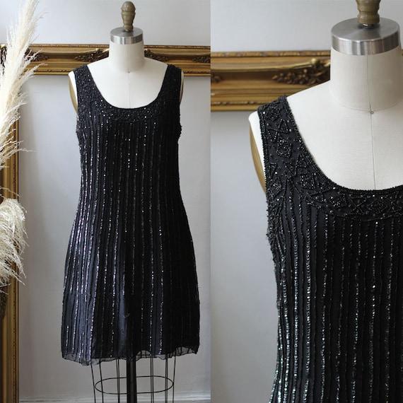 1980s black beaded Mini Dress // 1980s black sparkly dress // vintage cocktail dress